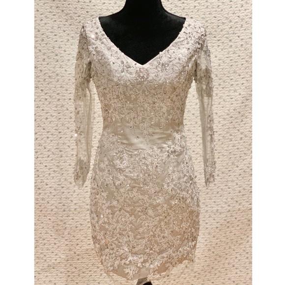 Dresses & Skirts - Silver Lace and Rhinestones Dress - Size 4 EUC